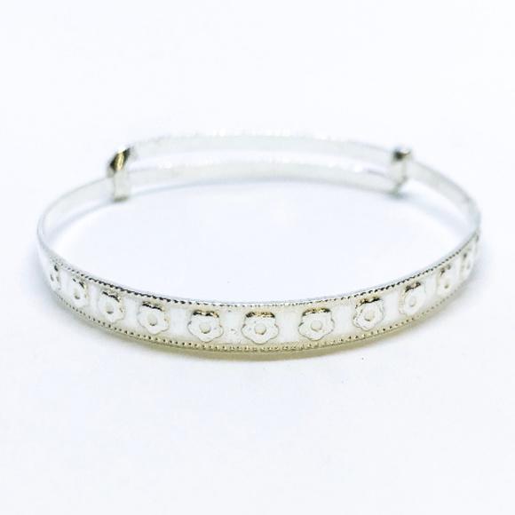 b49f9cce669 3 Royal Dazzy Jewelry | Silver Flower Design Newborn Bangle Bracelet ...